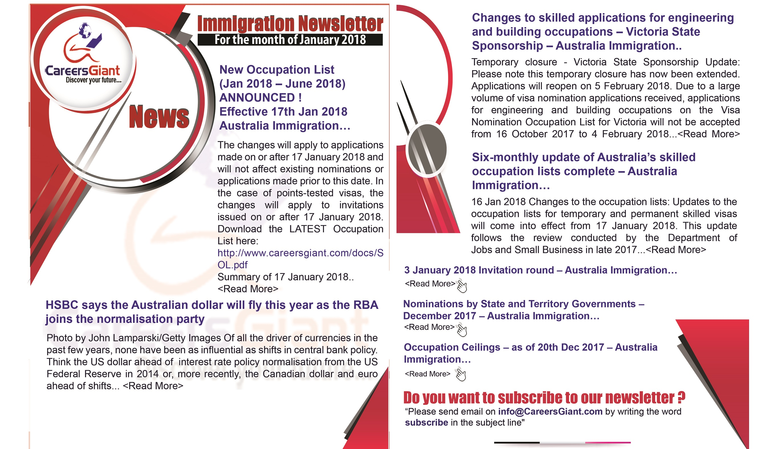 Immigration News letter- by CareersGiant-Jan 2018