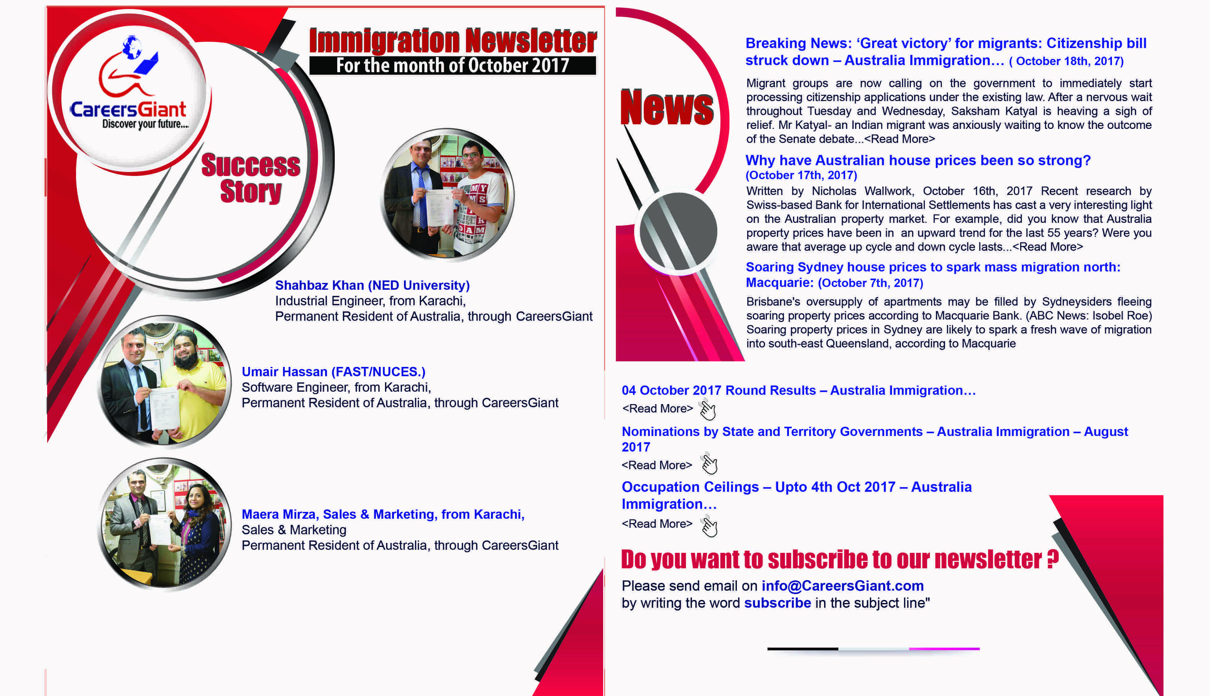 Immigration News letter-by CareersGiant - Oct 2017