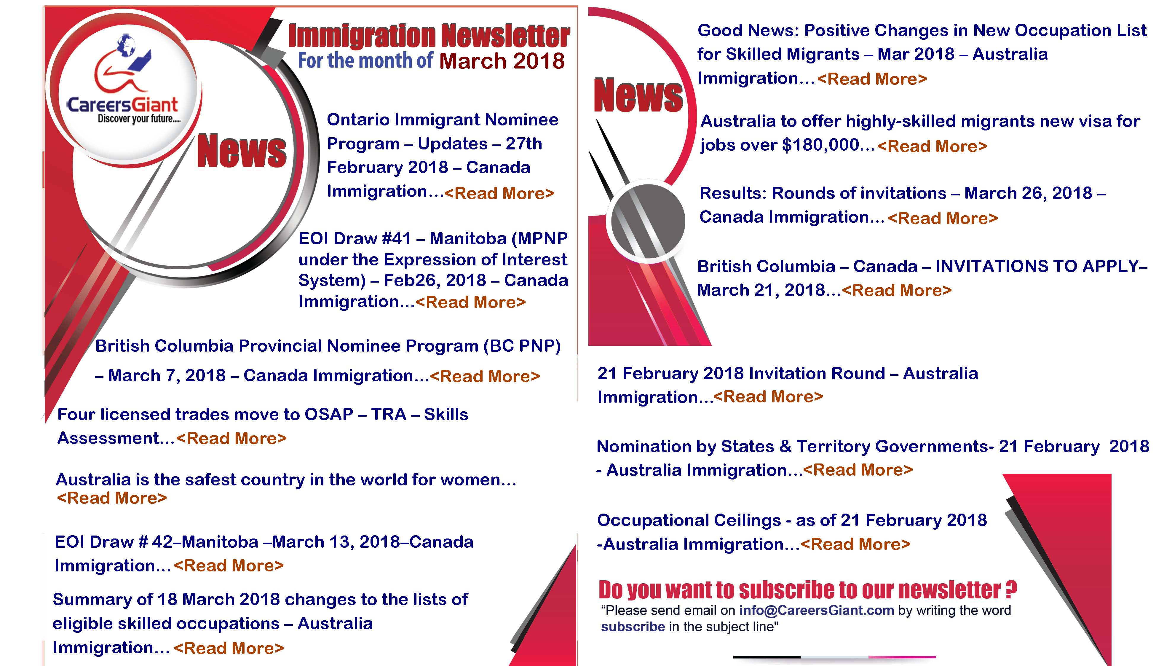 Immigration Newsletter- by CareersGiant- Mar 2018 - CareersGiant